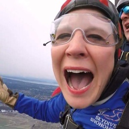Woman skydiving