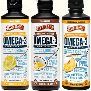 SDO3 Fish for Web 1020Seriously Delicious Omega-3 1,080 mg in lemon creme, pina colada, and mango peach smoothie flavors