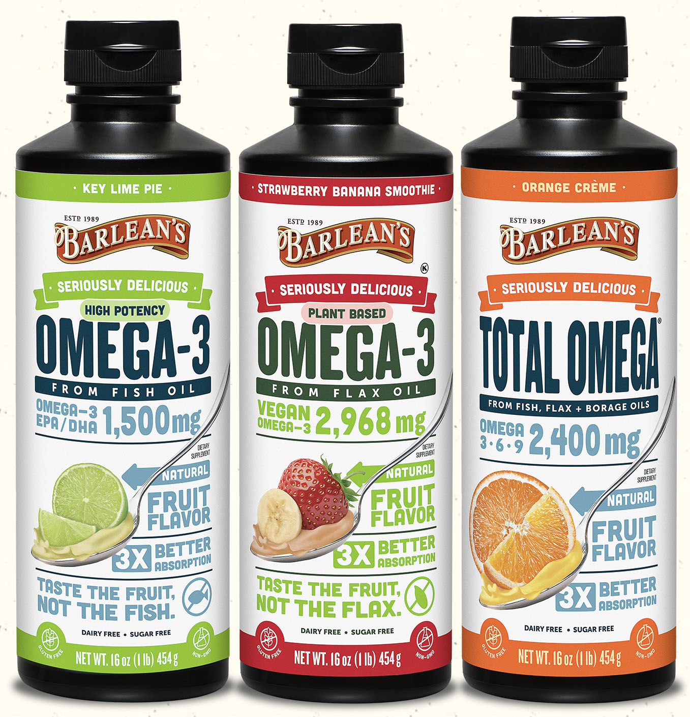 Seriously Delicious Omega-3 in key lime pie, strawberry banana smoothie, and orange creme flavors